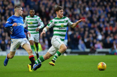 Anthony Ralston in action against Rangers