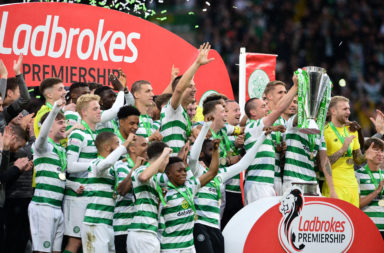 Celtic celebrating their eighth league title