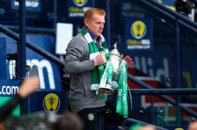 Celtic boss Neil Lennon with the Scottish Cup