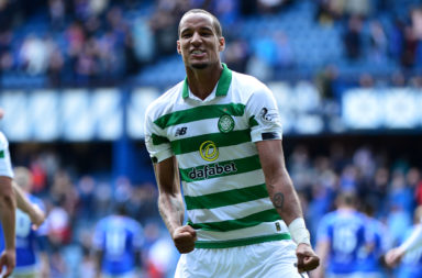 Christopher Jullien celebrates at Ibrox