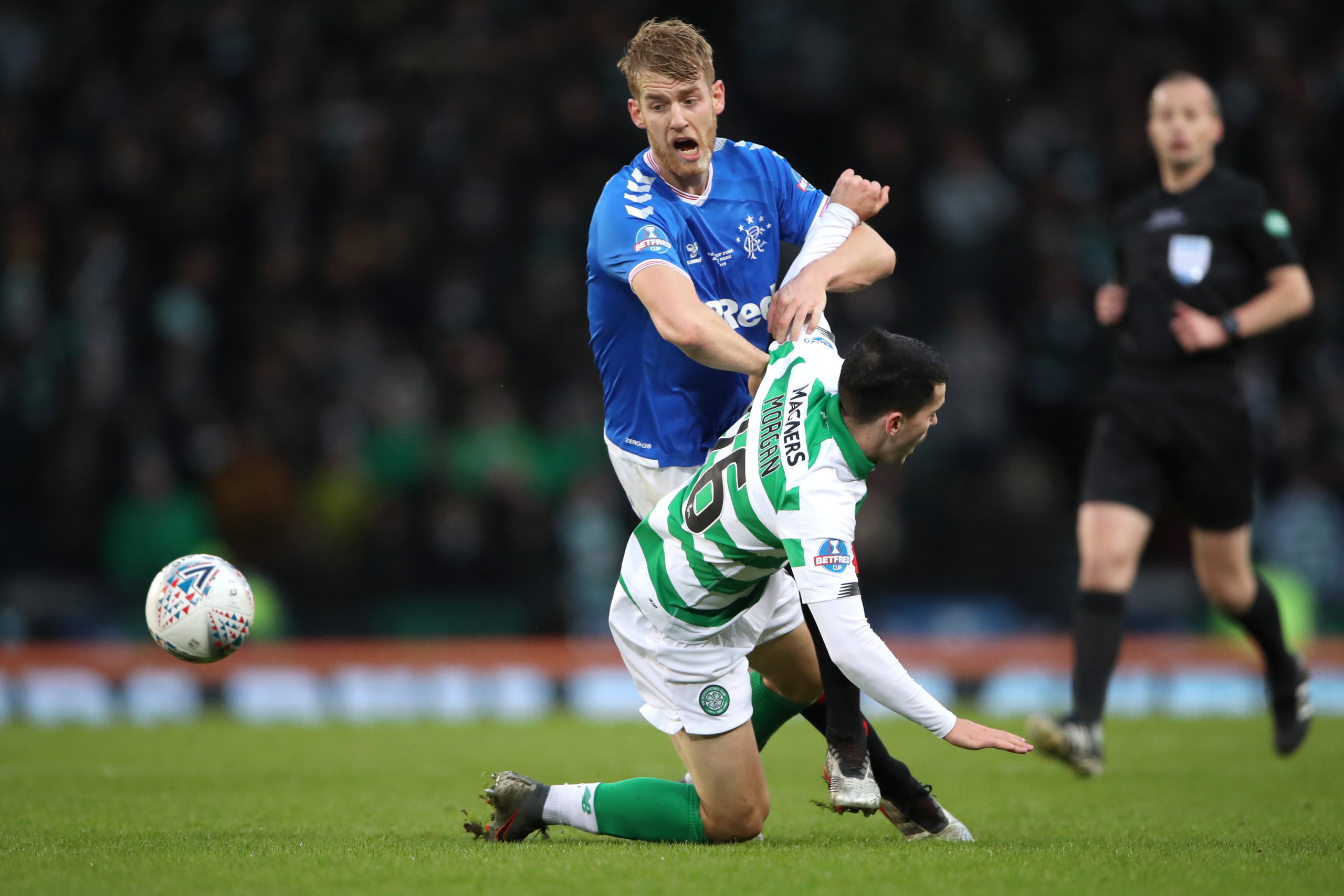 Rangers' Filip Helander against Lewis Morgan