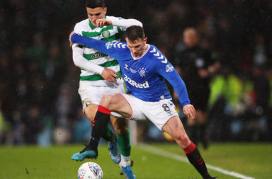 Mo Elyounoussi struggles in his only Glasgow derby appearance for Celtic thus far