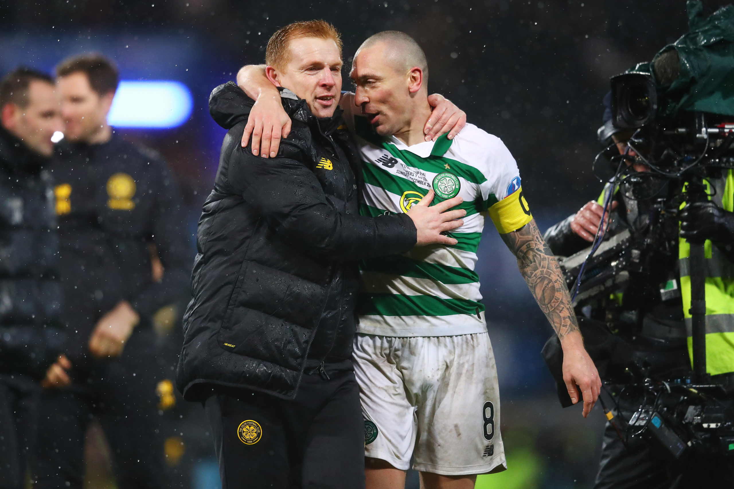 Scott Brown and Neil Lennon celebrate a Celtic victory