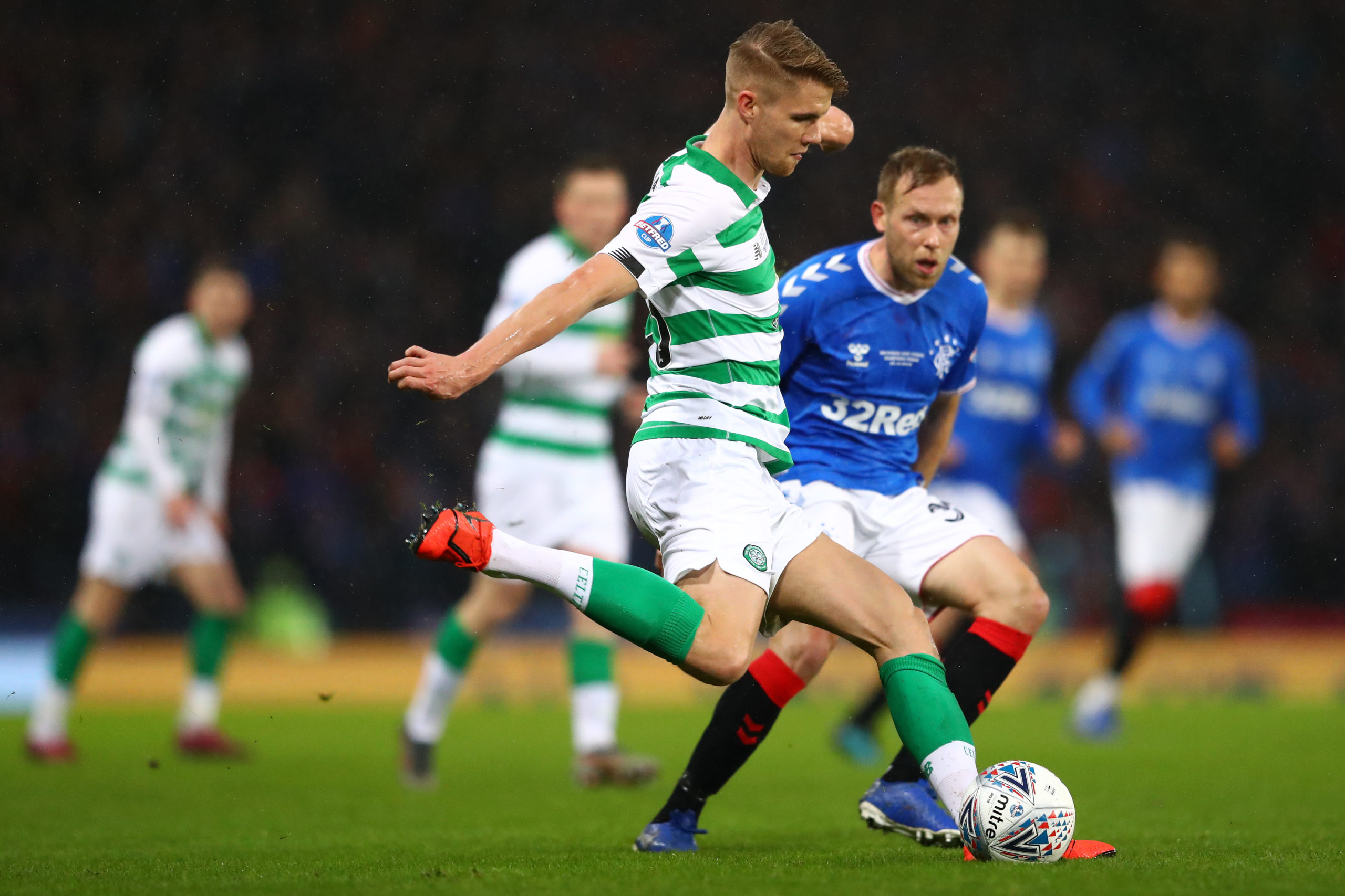 Celtic defender Kristoffer Ajer in action against Rangers