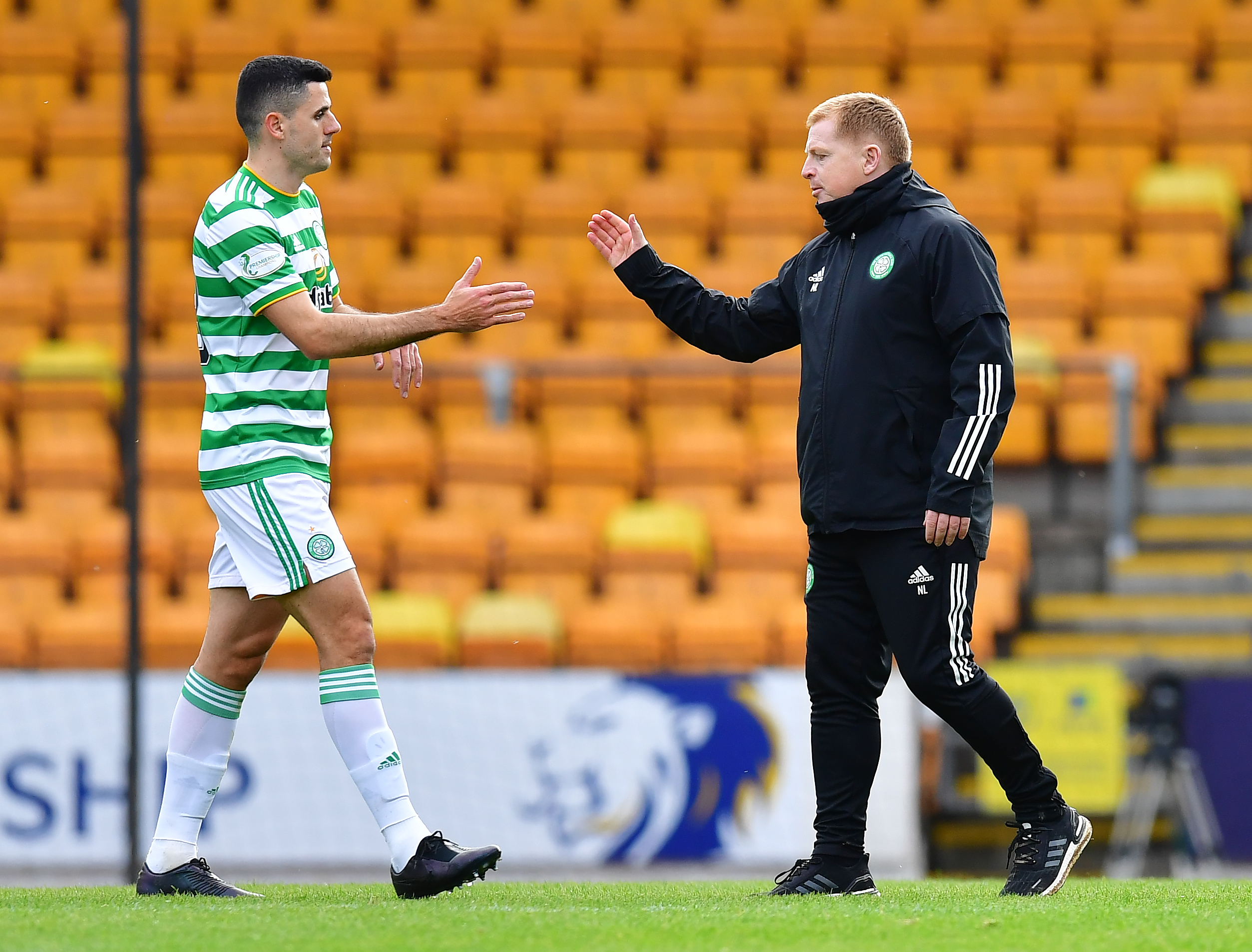 Celtic star Tom Rogic with Neil Lennon