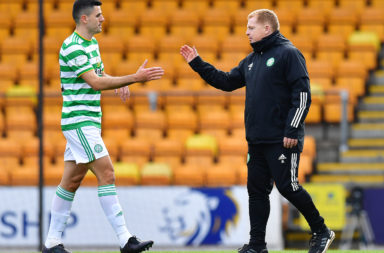 Celtic midfielder Tom Rogic and manager Neil Lennon