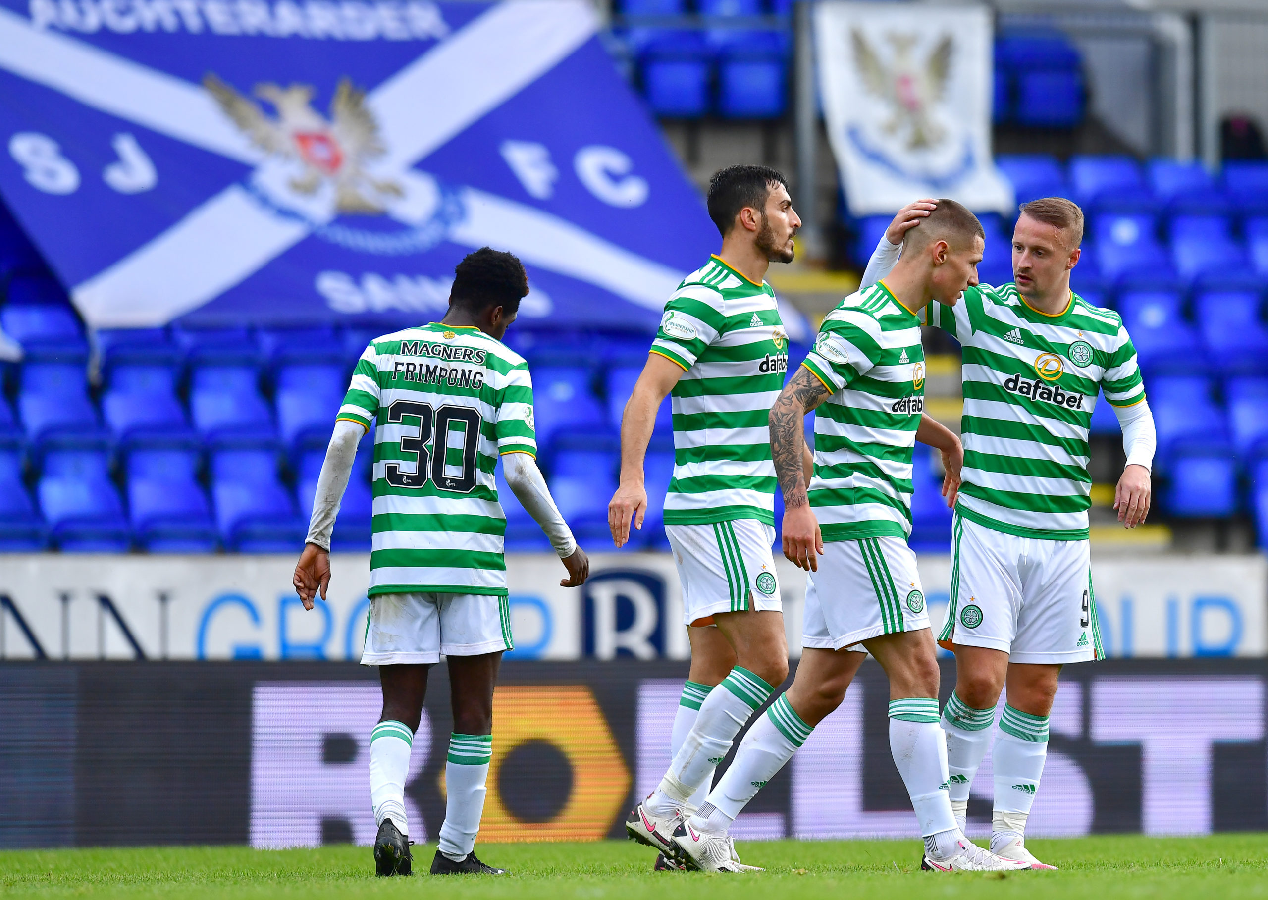 Patryk Klimala celebrates scoring for Celtic