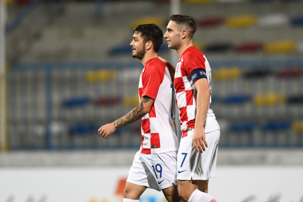David Colina (left) in action for Croatia under-21s