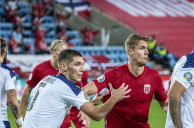 Kristoffer Ajer in action for Norway vs Serbia