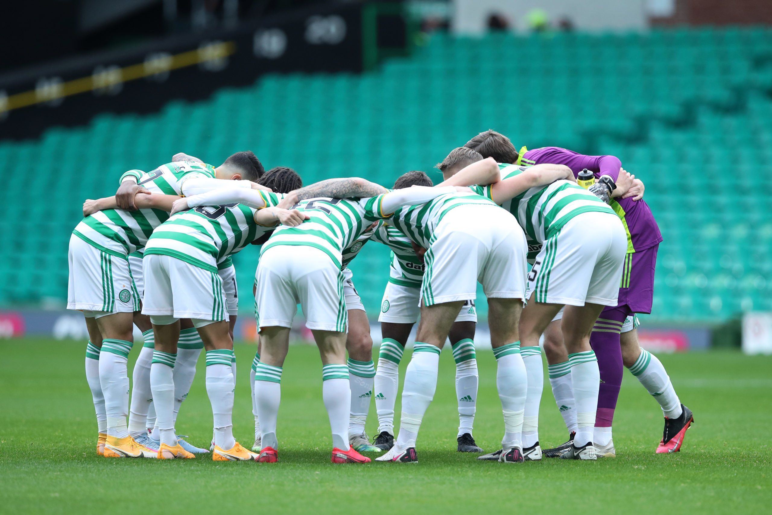 Celtic before the match against Rangers