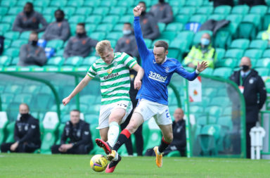 Stephen Welsh in action for Celtic vs Rangers