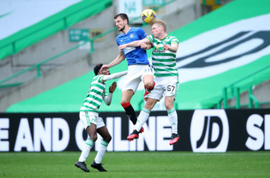 Stephen Welsh in action against Rangers