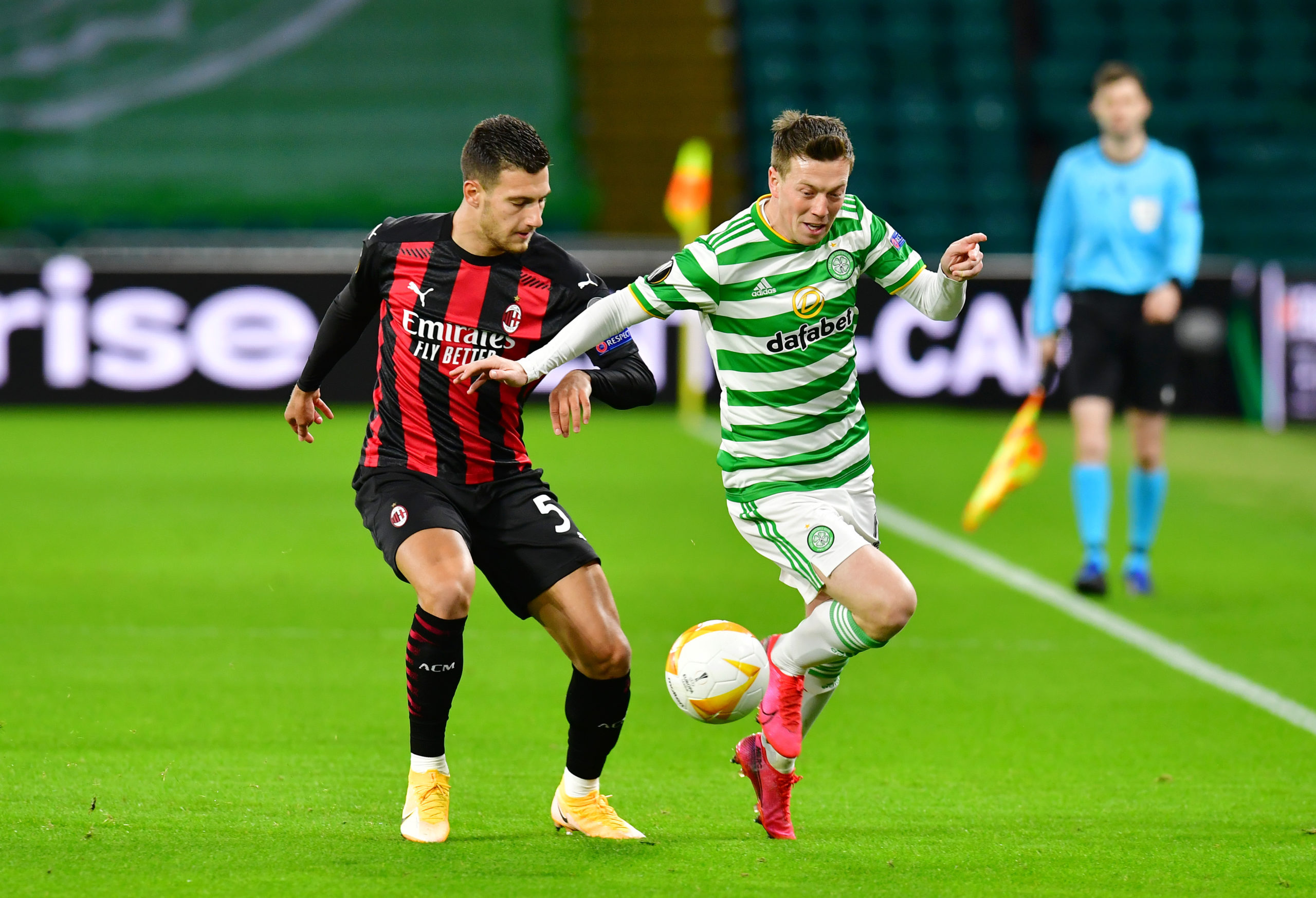 Callum McGregor in action aginst Milan