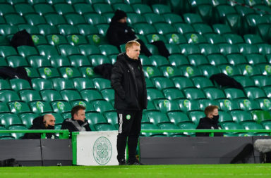 Neil Lennon watches on as Celtic lose to Milan