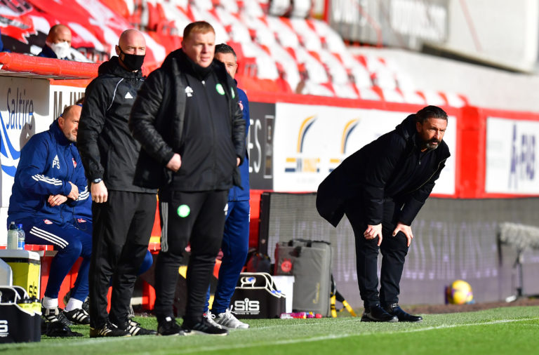 Neil Lennon and Derek McInnes on the touchline