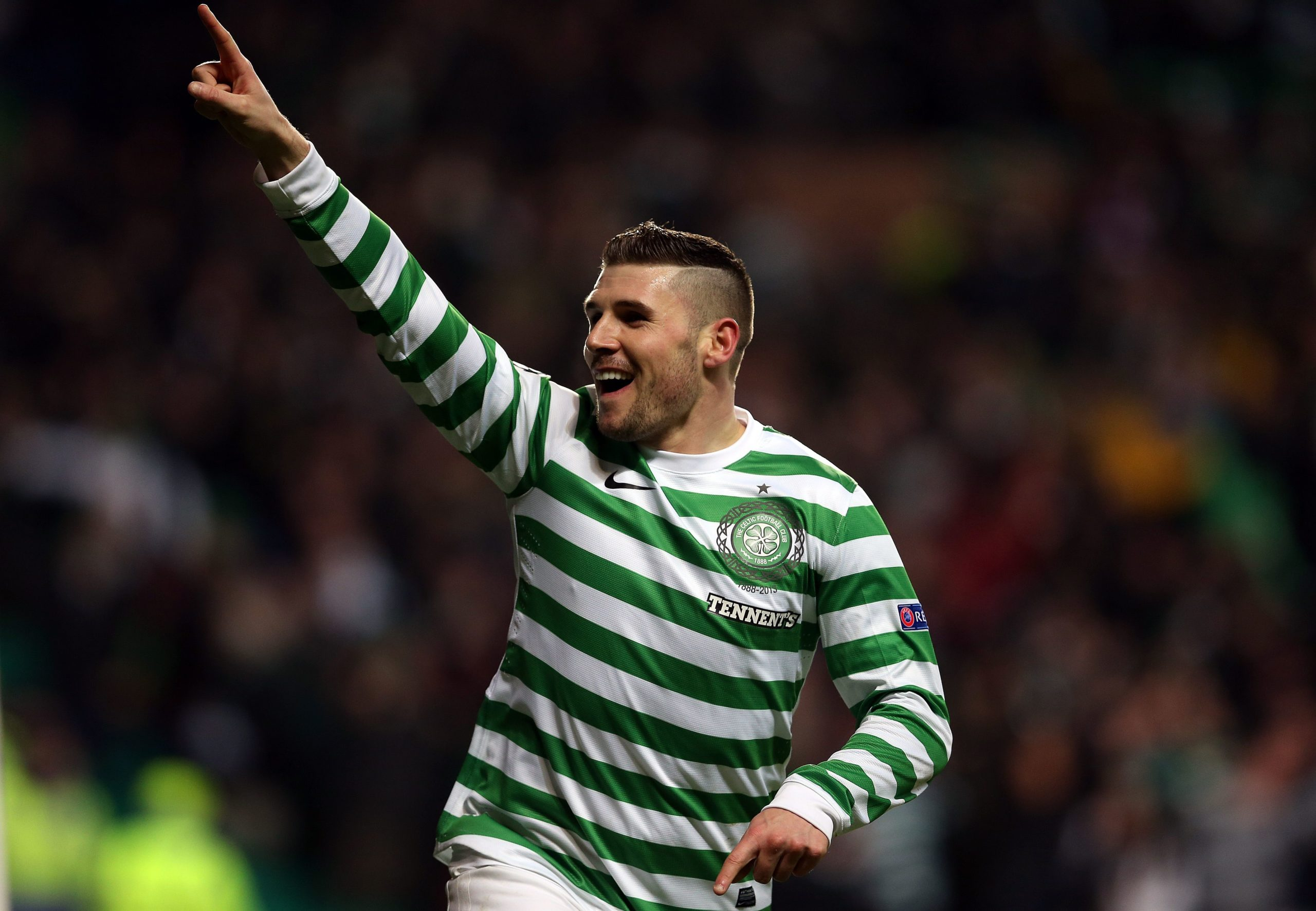 Gary Hooper celebrates vs Spartak Moscow