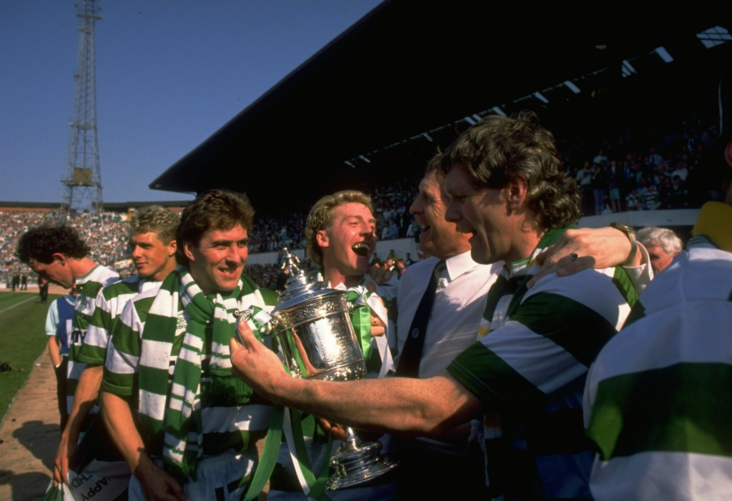 Celtic players celebrate the 1988 Scottish Cup Final win