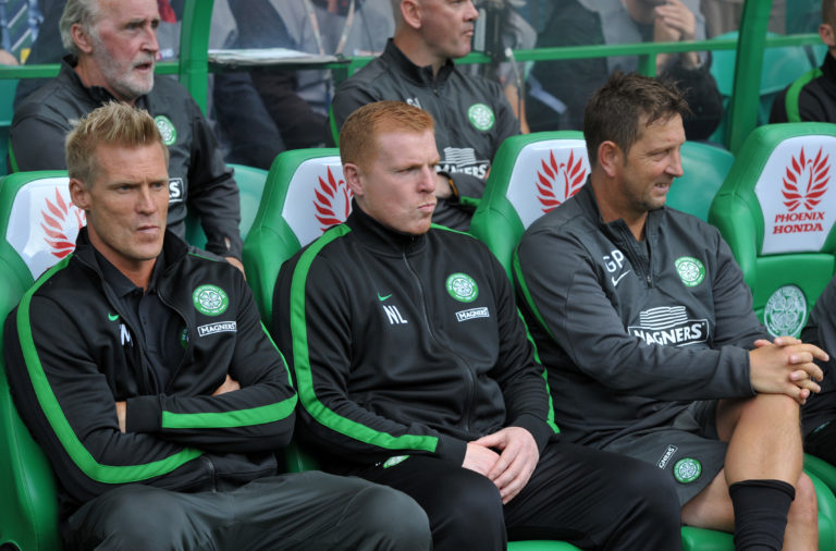Celtic manager Neil Lennon with Johan Mjallby during his first spell at Celtic