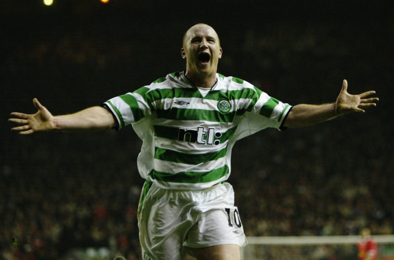 John Hartson celebrates his goal against Liverpool in 2003