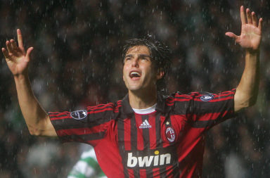 Kaka celebrates at Celtic Park