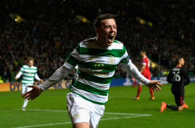 Callum McGregor celebrates scoring against Bayern Munich