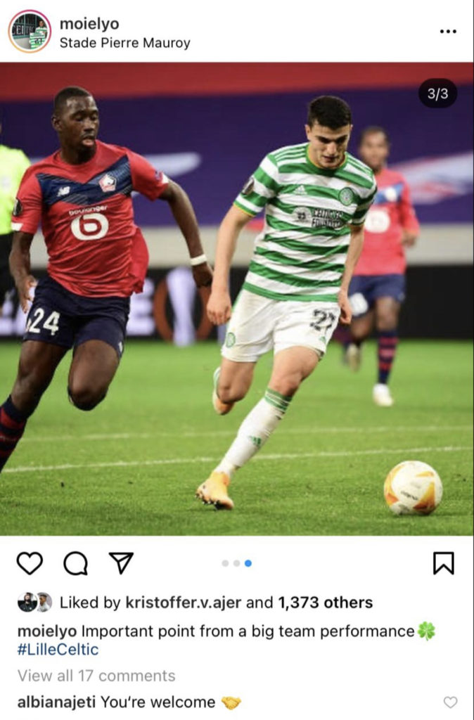 Albian Ajeti responds to Mohamed Elyounoussi's post