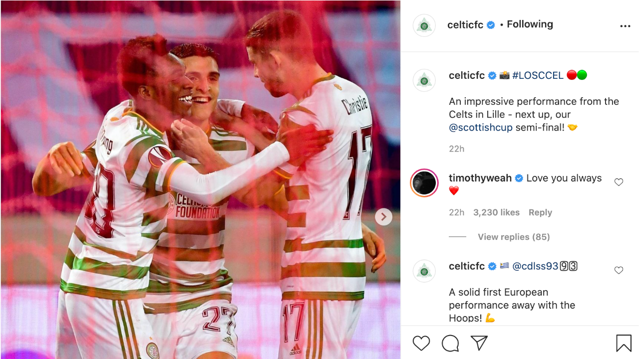 Timothy Weah's response to Celtic on Instagram