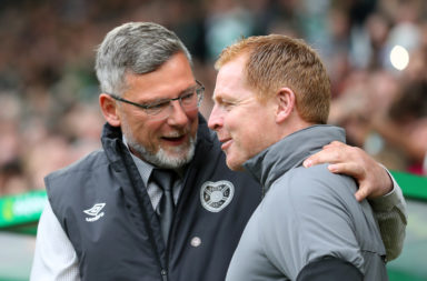 Craig Levein with Celtic boss Neil Lennon