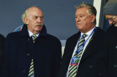 Dermot Desmond and Peter Lawwell at a Celtic match