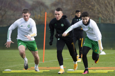 David Turnbull and Mikey Johnston in Celtic training