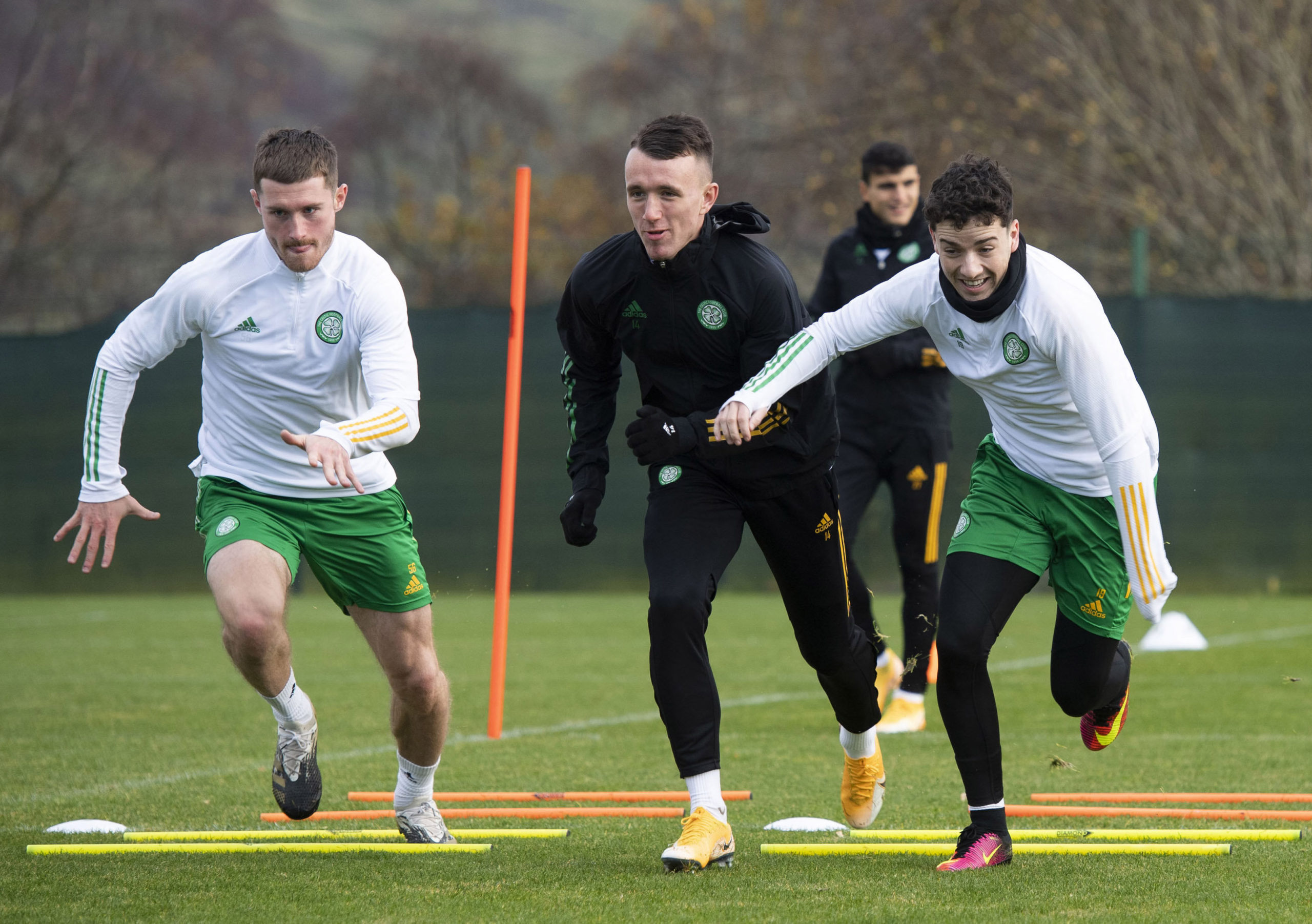 Mikey Johnston takes part in Celtic training