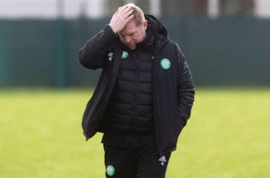 Celtic boss Neil Lennon cuts a dejected figure