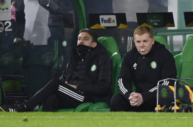 Neil Lennon watches on as Celtic lose to Sparta Prague