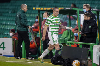 Scott Brown is subbed during Celtic's loss to Sparta Prague