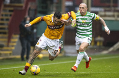 Tony Watt in action for Motherwell against Celtic