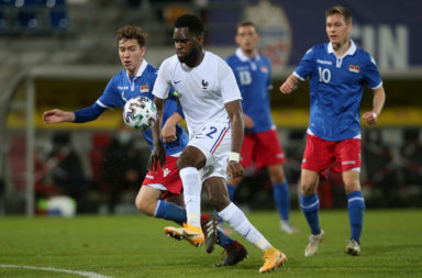 Celtic striker Odsonne Edouard in action for France under-21s