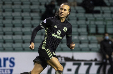 Celtic star Diego Laxalt celebrates after scoring against Hibs