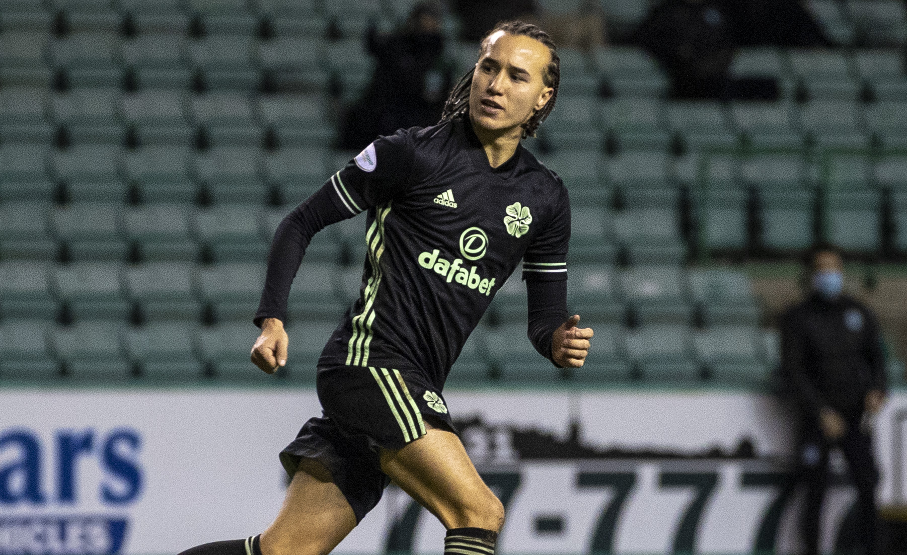 Diego Laxalt celebrates after scoring against Hibs