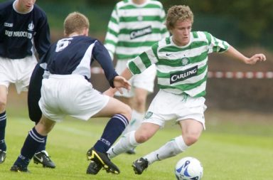 13/08/05 U19 League.Celtic V Falkirk (4-0).Barrowfield.Simon Ferry (Right) Steers Clear Of The Falkirk Defence