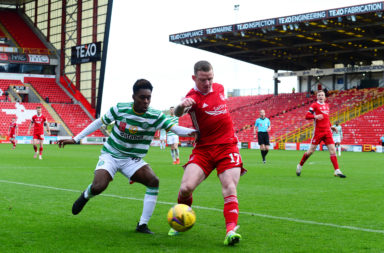 Jeremie Frimpong in action for Celtic against Aberdeen