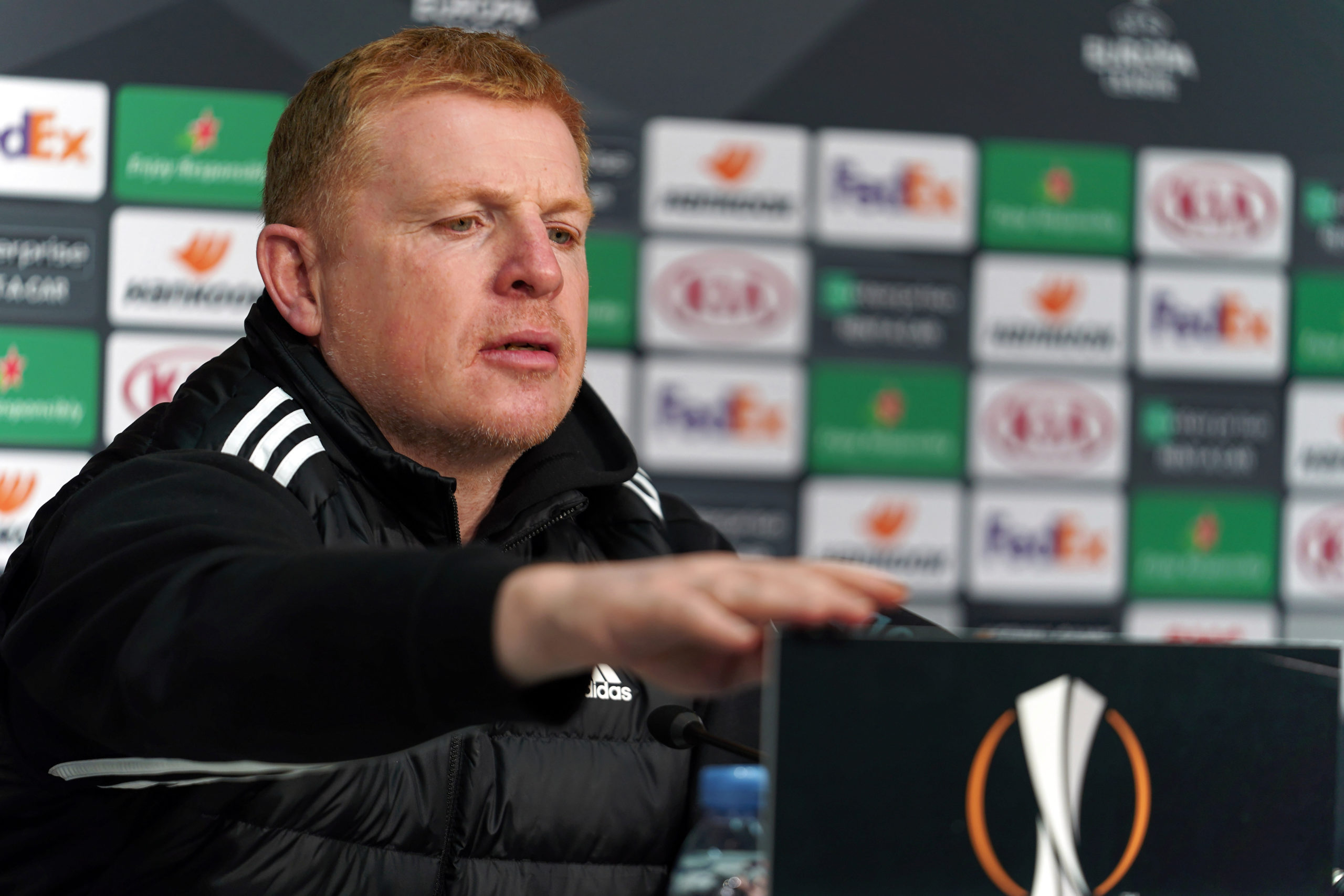 Neil Lennon at a press conference
