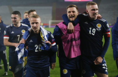 Leigh Griffiths celebrates with Scotland