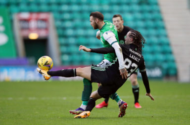 Hibernian winger Martin Boyle got little joy out of Celtic's Diego Laxalt