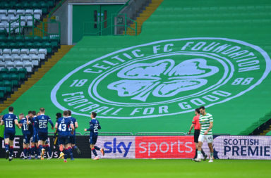 Ross County celebrate at Celtic Park