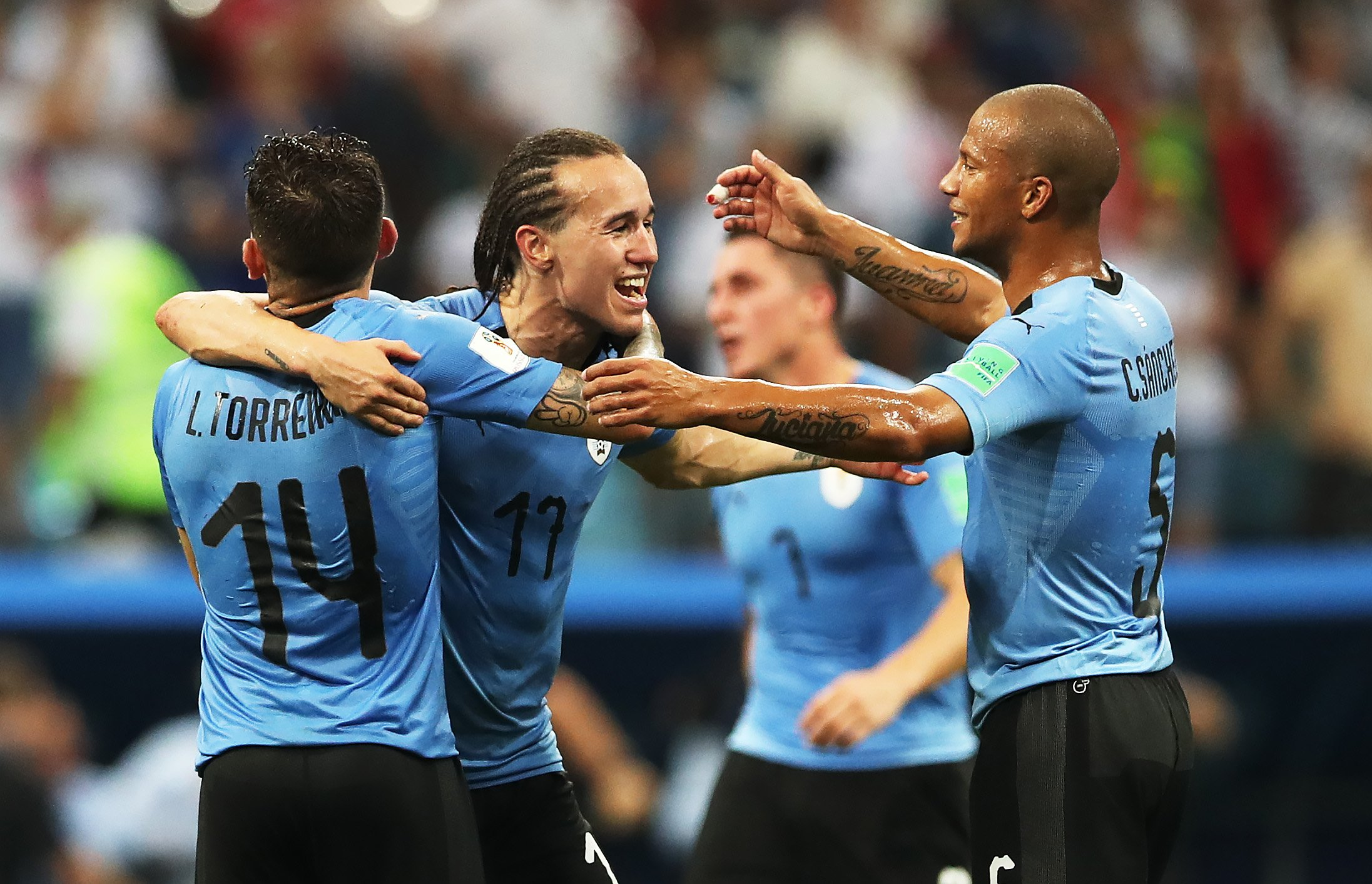 Diego Laxalt in action for Uruguay