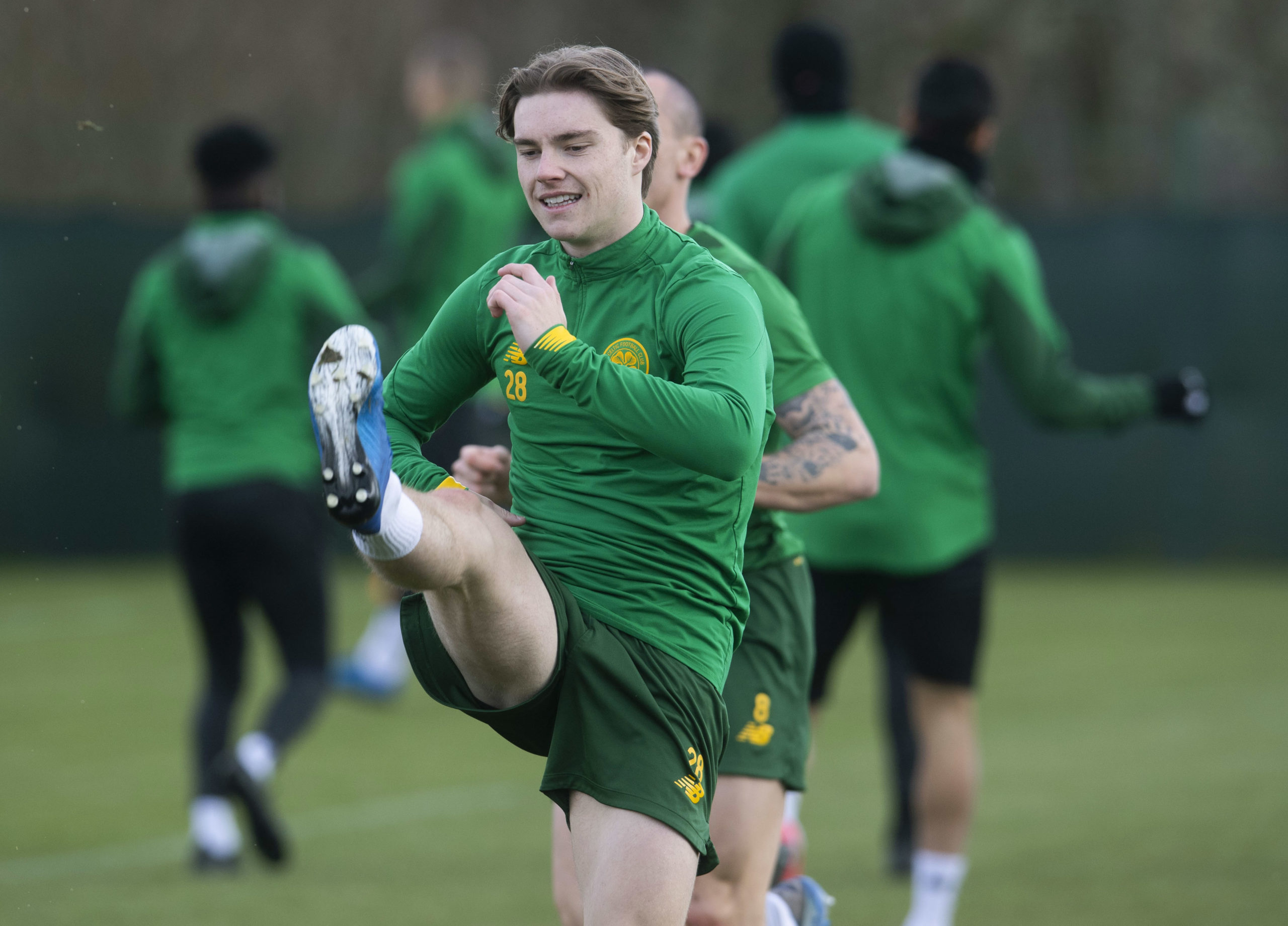 Luca Connell in Celtic training