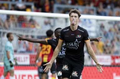 Celtic centre-back Jack Hendry in action for Oostende