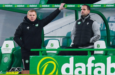 Neil Lennon and John Kennedy watch Celtic lose to Ross County