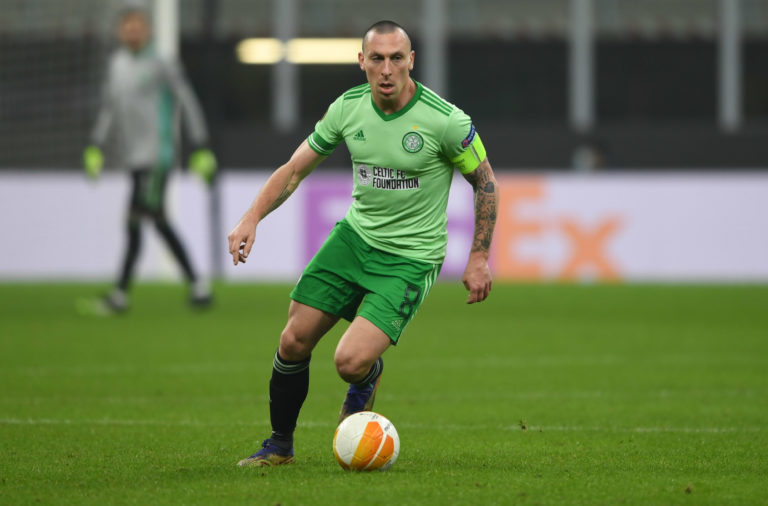 Celtic captain Scott Brown in action against Milan