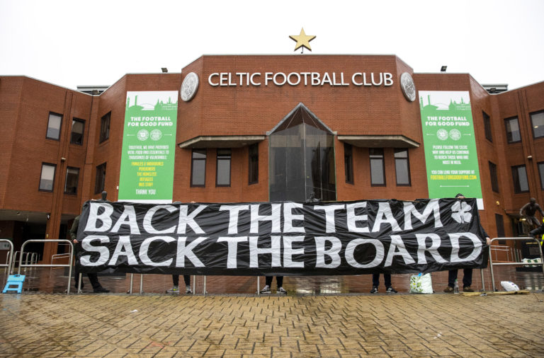 Celtic fans protest at Celtic Park